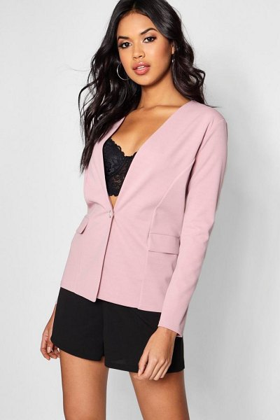 Boohoo Button Detail Pocket Blazer in mauve - Wrap up in the latest coats and jackets and get...