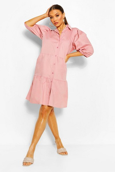 Boohoo Button Down Puff Sleeve Tiered Smock Dress in pink
