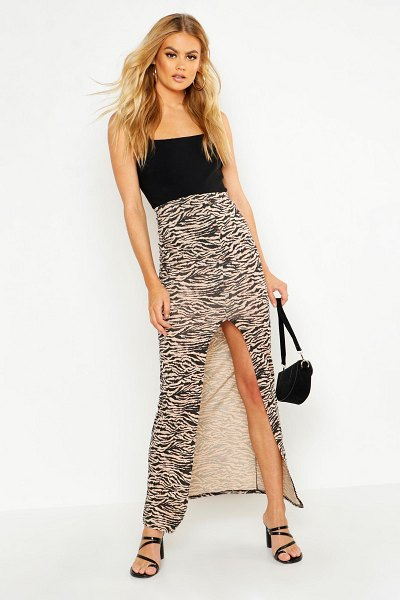 Boohoo Button Front Ankle Length Jersey Maxi Skirt in caramel