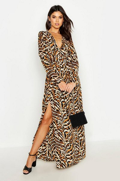 Boohoo Button Front Tiger Print Thigh Split Maxi Dress in sand