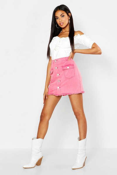 Boohoo Button Front Washed Denim Skirt in washed pink