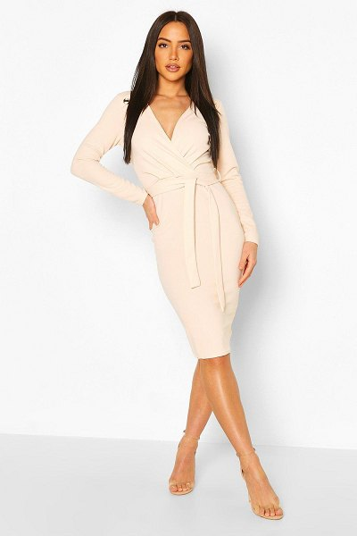 Boohoo Button Shoulder Belted Midi Dress in blush
