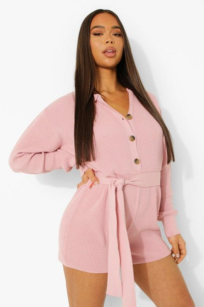 Boohoo Button Through Belted Knitted Romper in nude