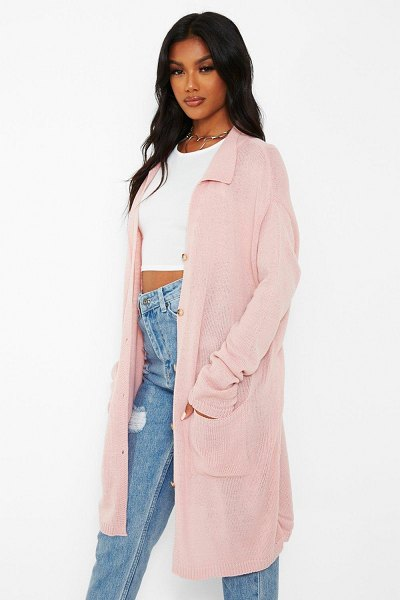 Boohoo Button Through Knitted Pocket Dress in rose