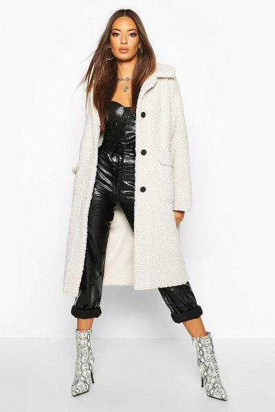 Boohoo Button Up Faux Fur Bonded Teddy Coat in cream