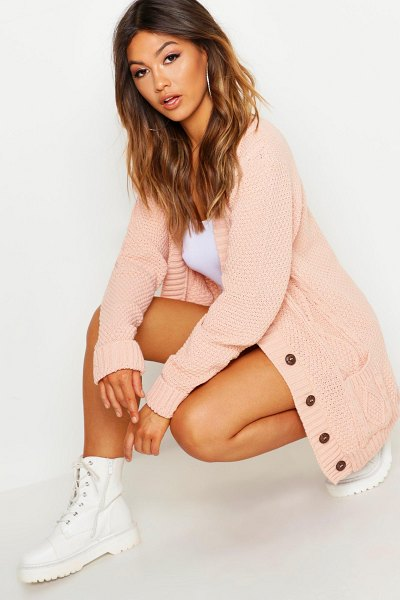 Boohoo Cable Boyfriend Button Up Cardigan in blush