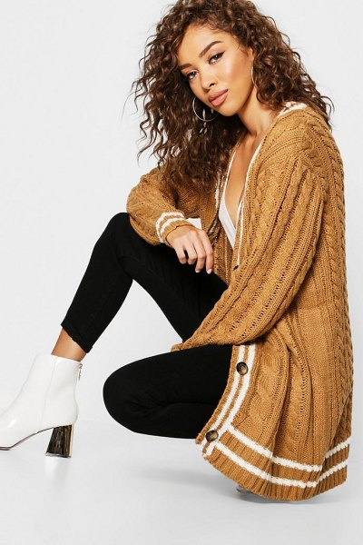 Boohoo Cable Stripe Midi Cardigan in camel - Wrap up in the latest coats and jackets and get...