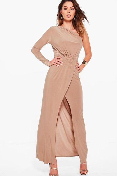 Boohoo Caia One Shoulder Wrap Slinky Maxi Dress in sand - Dresses are the most-wanted wardrobe item for...