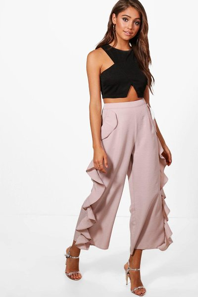 Boohoo Ruffle Side Woven Wide Leg Culottes in mauve - Trousers are a more sophisticated alternative to...
