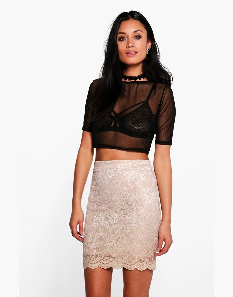 Boohoo Callie Scalloped Lace Metallic Mini Skirt in gold - Skirts are the statement separate in every wardrobe This...