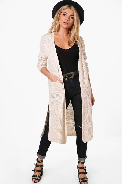 Boohoo Camilla Side Split Maxi Cardigan in beige - Nail new season knitwear in the jumpers and cardigans...