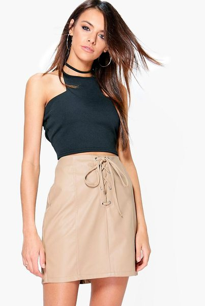 Boohoo Camille Lace Up Panelled Leather Look Mini Skirt in sand - Skirts are the statement separate in every wardrobe This...