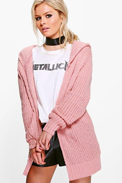 Boohoo Soft Knit Hooded Cardigan in blush - Nail new season knitwear in the jumpers and cardigans...