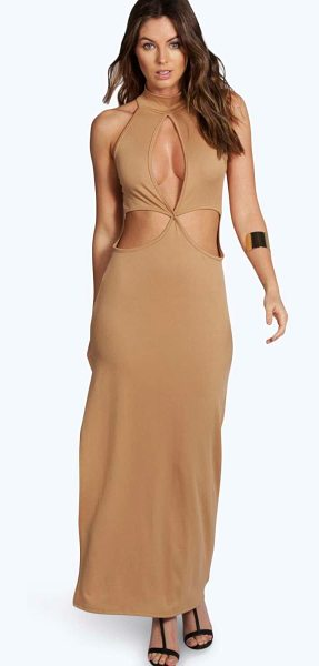Boohoo Candice High Neck Cutout Maxi Dress in camel - Dresses are the most-wanted wardrobe item for...