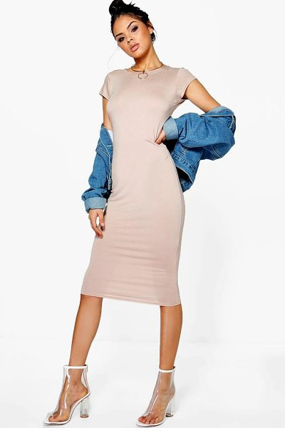 Boohoo Cara Cap Sleeve Jersey Bodycon Midi Dress in sand - Dresses are the most-wanted wardrobe item for...