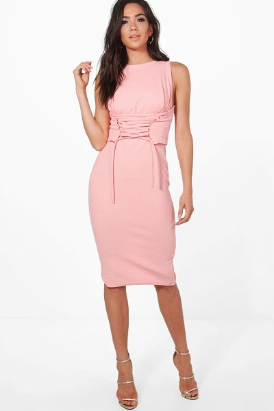 BOOHOO Cara Corset Lace Peplum Midi Dress - Dresses are the most-wanted wardrobe item for...
