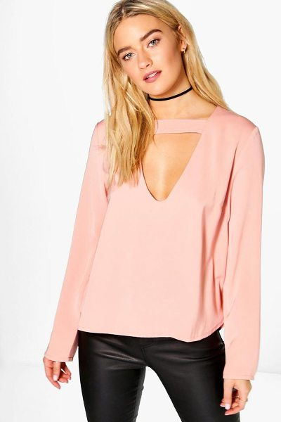 Boohoo Open Neck Detail Blouse in rose - Steal the style top spot in a statement separate from...