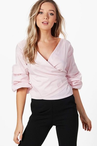 Boohoo Ruffle Sleeve Stripe Wrap Shirt in pink