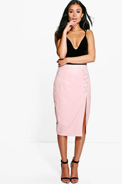 Boohoo Carmel Lace Up Split Leather Look Midi Skirt in blush - Skirts are the statement separate in every wardrobe This...