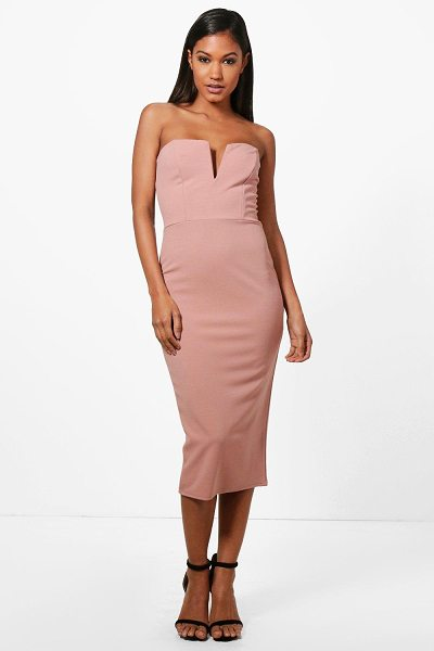 Boohoo Carmen Plunge Bandeau Midi Dress in rose - Dresses are the most-wanted wardrobe item for...