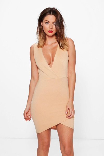 Boohoo Carmen Wrap Over Detail Bodycon Dress in stone - Carmen Wrap Over Detail Bodycon Dress stone