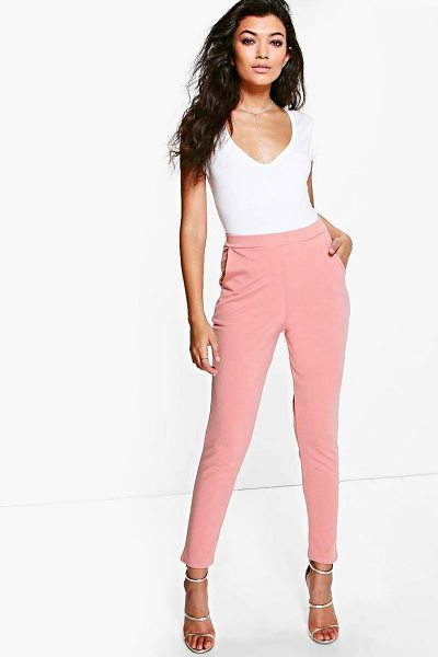 Boohoo Scuba Super Stretch Skinny Trousers in coral - Trousers are a more sophisticated alternative to...