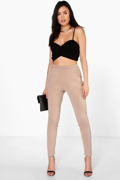 Boohoo Carmilla Scuba Super Stretch Skinny Trousers in sand - Trousers are a more sophisticated alternative to...