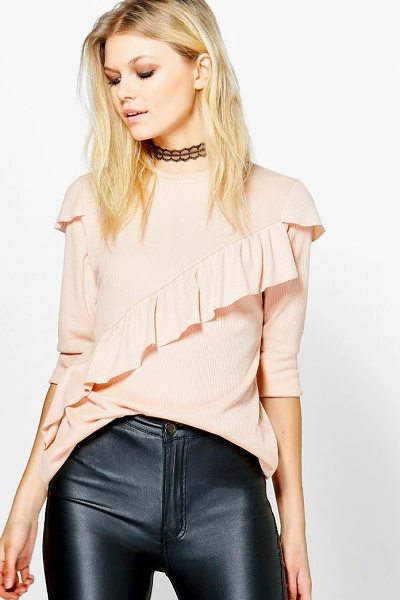 Boohoo Caroline Asymmetric Ruffle Rib Knit Jumper in blush - Nail new season knitwear in the jumpers and cardigans...