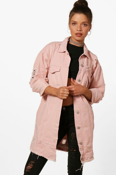 Boohoo Casey Nude Longline Distressed Denim Jacket in nude - Wrap up in the latest coats and jackets and get...