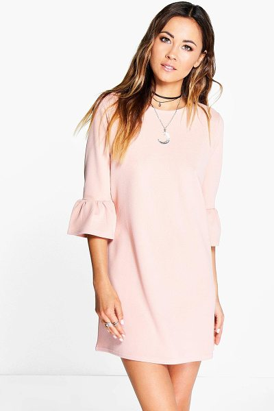 Boohoo Casey Ruffle Sleeve Shift Dress in nude - Pared back day dresses are the perfect base for layering...
