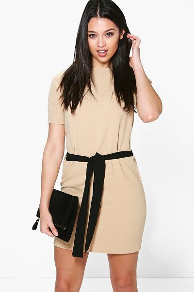 Boohoo Cassie Tie Waist Woven Shift Dress in sand - Dresses are the most-wanted wardrobe item for...