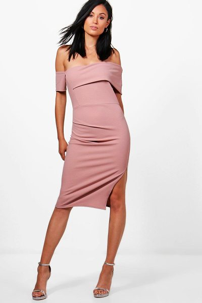 BOOHOO Cat Off Shoulder Ruched Midi Dress - Dresses are the most-wanted wardrobe item for...