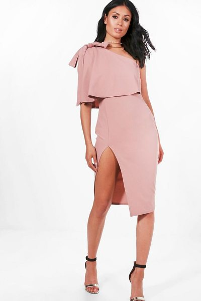 Boohoo Bow Shoulder Detail Midi Dress in rose - Dresses are the most-wanted wardrobe item for...