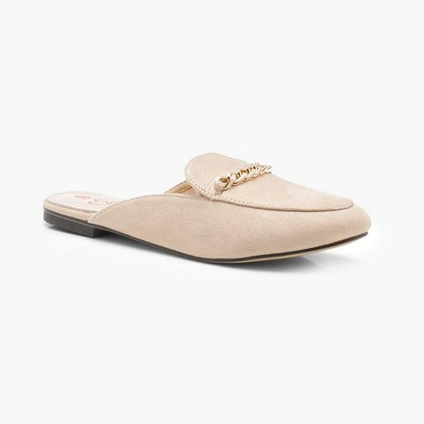 5f800b30240 Boohoo Chain Trim Mule Loafers in nude - We ll make sure your shoes keep