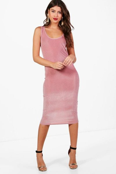 BOOHOO Char Velvet Bodycon Midi Dress - Dresses are the most-wanted wardrobe item for...