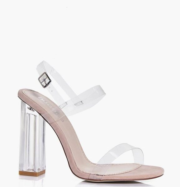 Boohoo Charlotte Clear Block Two Part Heels in nude - Strappy, caged, laced-up, or adorned in stand-out...
