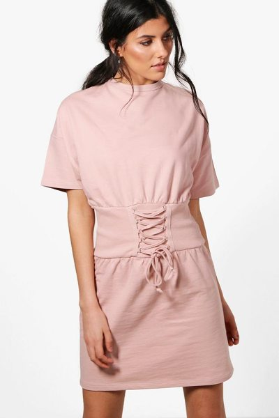 Boohoo Charlotte Corset Detail Short Sleeve Sweat Dress in stone - Dresses are the most-wanted wardrobe item for...
