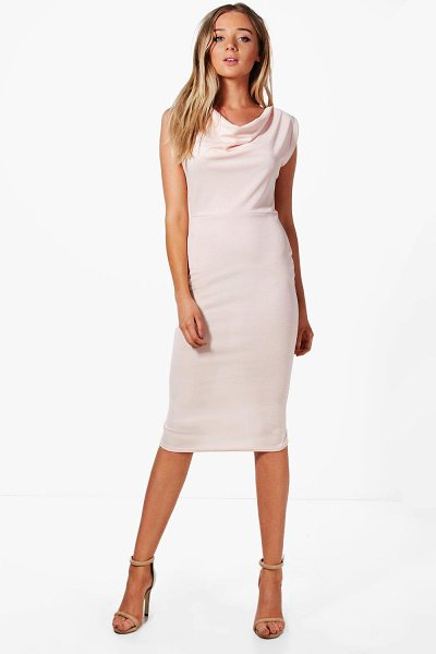 Boohoo Cowl Neck Midi Dress in nude - Dresses are the most-wanted wardrobe item for...