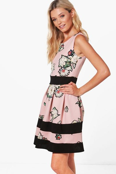 BOOHOO Charlotte Floral Print Skater Dress - Dresses are the most-wanted wardrobe item for...