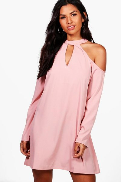 Boohoo Woven Cold Shoulder Cut Out Shift Dress in blush - Dresses are the most-wanted wardrobe item for...