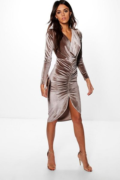Boohoo Cowl Neck Velvet Draped Midi Dress in stone - Always be ready to party with the perfect bodycon dress....