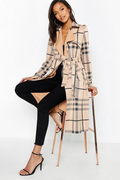 Boohoo Check Suedette Trench Coat in stone - Wrap up in the latest coats and jackets and get...