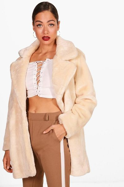 Boohoo Faux Fur Coat in cream - Wrap up in the latest coats and jackets and get...