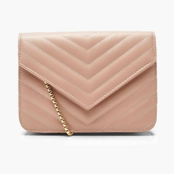 Boohoo Chevron Quilt Crossbody in ecru