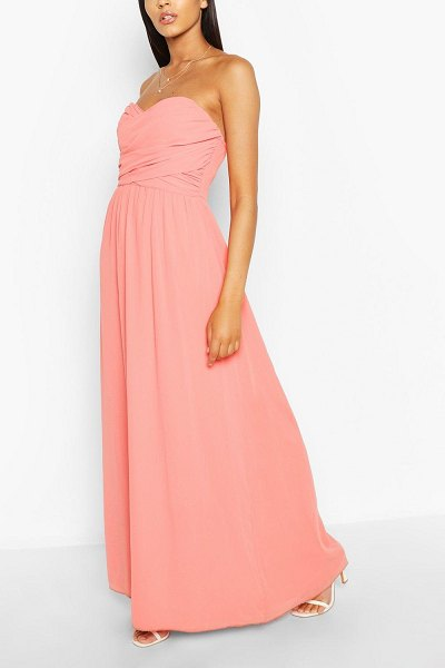 Boohoo Chiffon Bandeau Maxi Bridesmaid Dress in coral