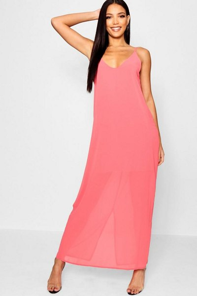 Boohoo Chiffon Layered Maxi Dress in coral - Dresses are the most-wanted wardrobe item for...