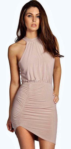 BOOHOO Chris Slinky High Neck Bodycon Dress in mink - Spin your way through cocktail hour in our selection of...