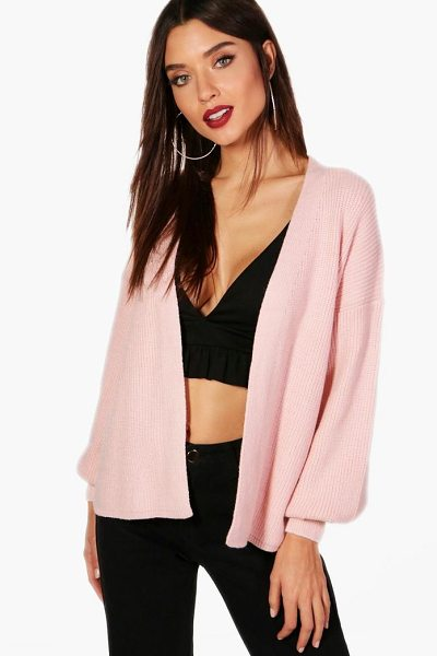 Boohoo Christie Puffed Sleeve Cardigan in pink - Nail new season knitwear in the jumpers and cardigans...