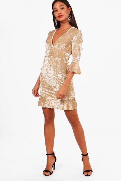 BOOHOO Velvet Frill Detail Tea Dress - Dresses are the most-wanted wardrobe item for...