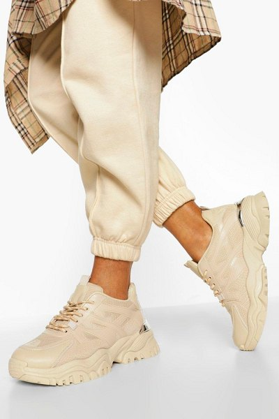 Boohoo Chunky Cleated Sole Sneakers in stone